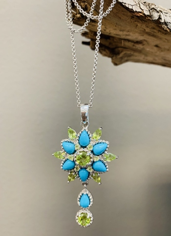 Genuine Sleeping Beauty Turquoise & Gemstones Flower Shaped Pendant in Silver