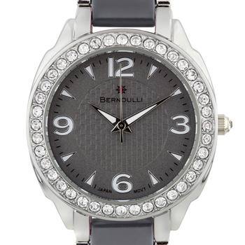 Bernoulli Daeva Ladies Watch - Silver Bracelet, Grey Enamel Inserts, Silver Case, Cz Stone Bezel, Grey Dial, Silver Indexes