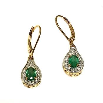 14K Over Sterling Silver Emerald Drop Earrings