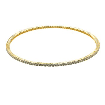 14K Over Sterling Silver Micro Pave Stackable Bangle