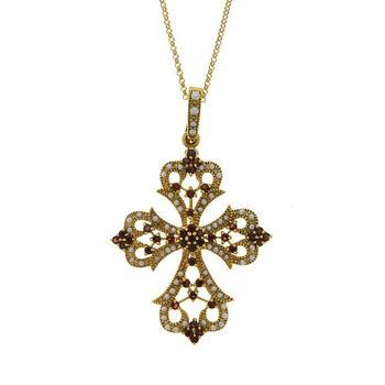 14k gold over Silver Genuine Garnet & Pearls Cross Pendant