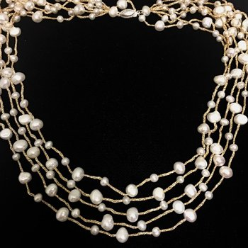 16 Inch Sterling Silver Multi Strand Pearl Necklace