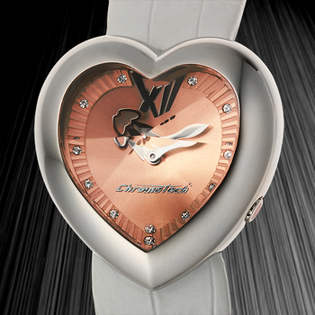 Chronotech 3hand 7 Ladies Watch - Silver Bracelet, Black Case, Black Dial