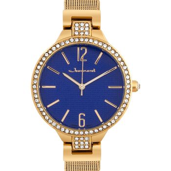 Jeanneret Jura Ladies Watch - Rose Gold Mesh Band, Rose Gold Case, Pearlized Dark Blue Dial