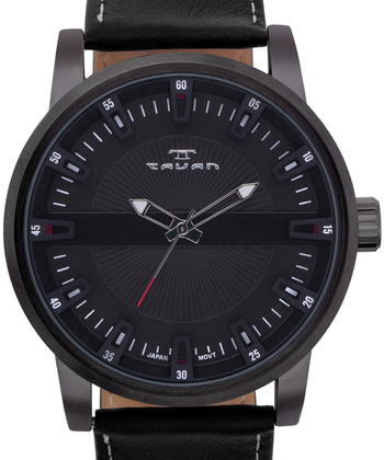 Vintage Style Black Leather Mens Watch