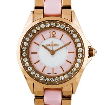 Charles Latour Voluta Ladies Watch - Rose Gold Bracelet with Blush Inserts, Czech Crystal Bezel, Blush Chapter Ring, White MOP Dial Core, Rose Gold Indexes