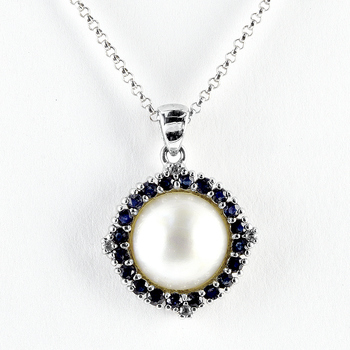 Sterling Silver Sapphire Mabe Pearl Pendant with Chain