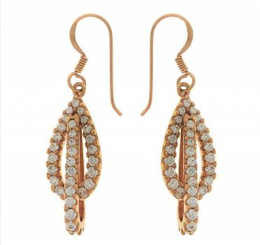 18k Rose Gold over Sterling Silver Simulated Diamond Drop Earrings
