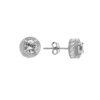 1.24cwt Genuine White Zircon Beaded Halo Stud Earrings