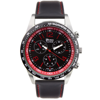 Red And Black Dial, Men's Watch Leather Strap