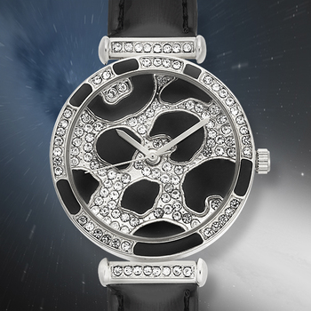 Shaped Dial, Black And Silver Tone Ladies Watch