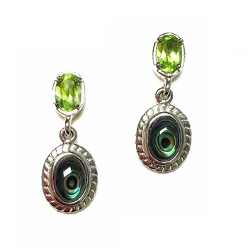 Sterling Silver abalone and Peridot Drop Dangle Earrings