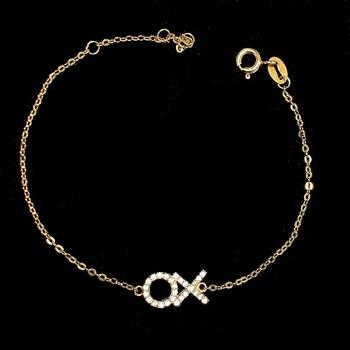 Sterling Silver Pave XO Delicate Bracelet