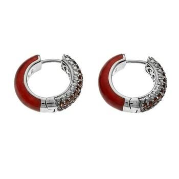 Sterling Silver Red Jade & Garnet Reversible Huggie Hoop Earrings