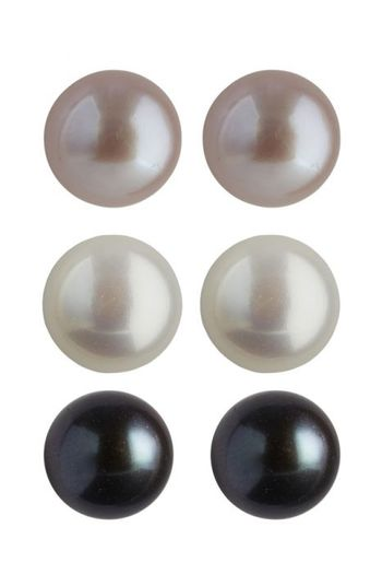 Sterling Silver Set of 3 Button Pearl Stud Earrings