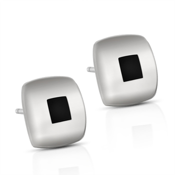 Black Square Studs Sterling Silver Earrings