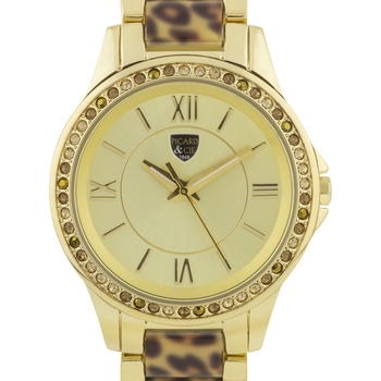 Casual Leopard Print Link Ladies Watch