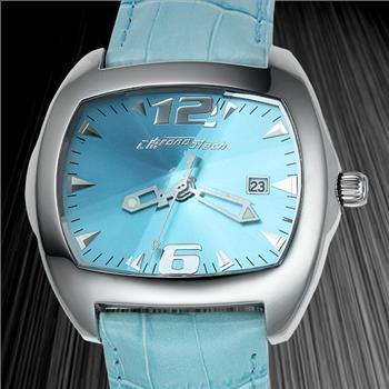Light Blue Leather Strap Ladies Watch