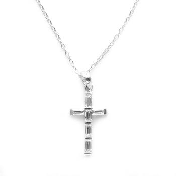 Cross White Cubic Zirconia Sterling Silver Pendant