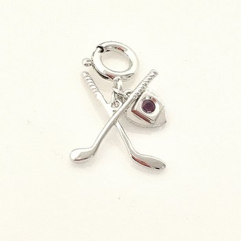 ELLE Sterling Silver Golf Charm with Ruby Accent