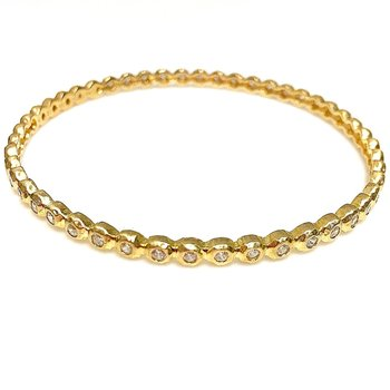 Gold over Sterling Silver CZ Bangle