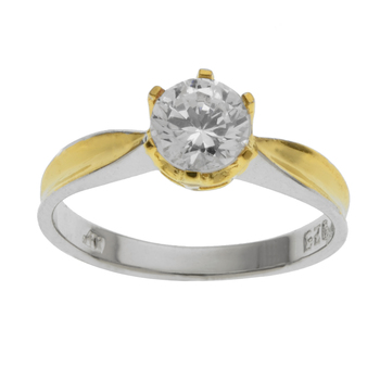 Gold-Tone over Sterling Silver Cz Ring Size 7
