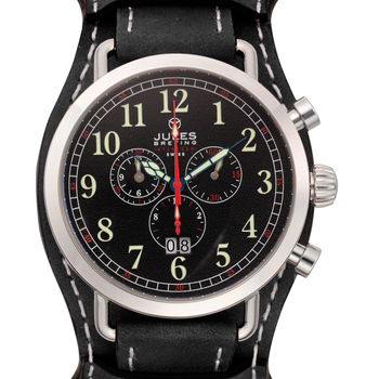 Jules Breting Stainless Steel Men's Discovery One Swiss Chronograph Removable Cuff Watch
