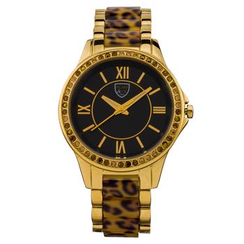 Casual Leopard Print Link Ladies Watch