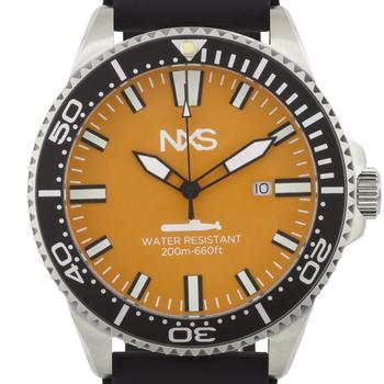 Men's Swiss Diver Watch Black Silicone Strap Orange Dial