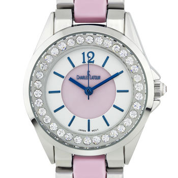 Pearled Dial Core with Crystal Bezel Ladies Watch
