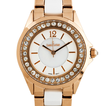 Pearlized Dial Core with Crystal Bezel Ladies Watch
