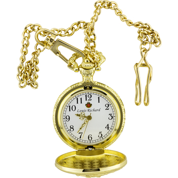 Gold Train Engraved Pocket Watch