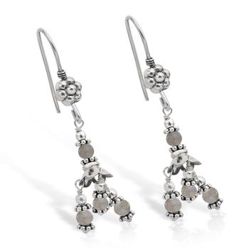 Smoky Quartz Bead Chandelier Earrings in Sterling Silver