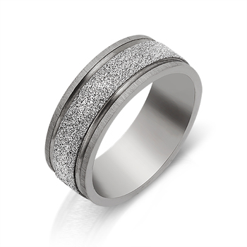 Stainless Steel Greek Scroll Sand Blast Spinning Ring ~ Size 10