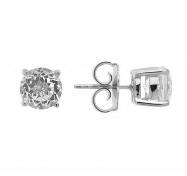 Sterling Silver 100 Facet 8MM White Topaz Stud Earrings