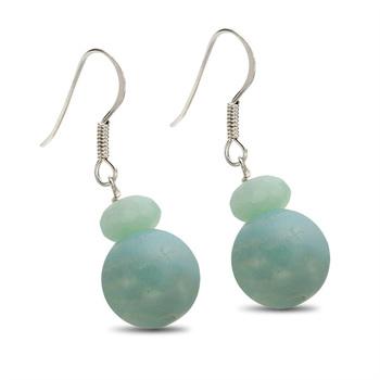 Sterling Silver 12mm Amazonite Dangle Earrings
