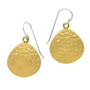 14K Gold Vermeil Hammered Disk Drop Earrings