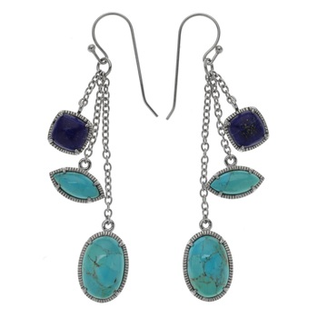 "Sterling Silver 2.75"" Multi Shape Turquoise & Lapis Dangle Earrings"