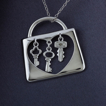 "Sterling Silver 3 Key Heart Lock Pendant with Diamond Accents & 18"" Chain"