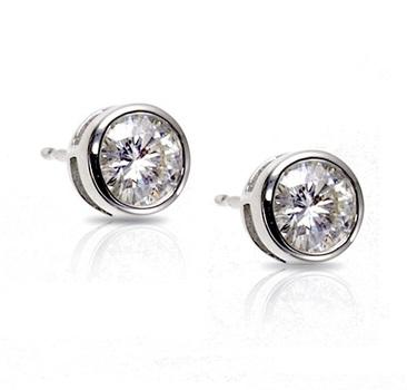 Sterling Silver 6mm Bezel Set Round Stud Earrings
