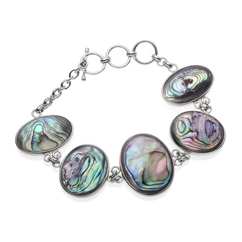 Sterling Silver Mother of Pearl & Abalone Reversible Bracelet
