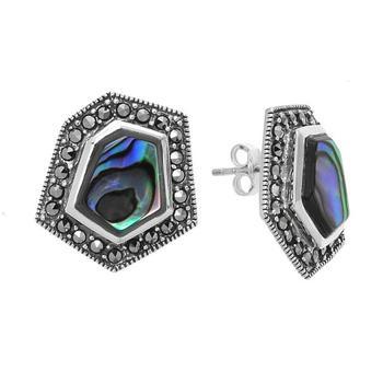 Sterling Silver Abalone & Marcasite Geometric Earrings