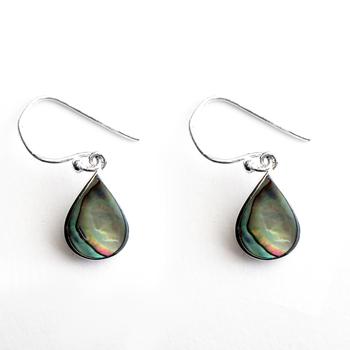 Sterling Silver Abalone Tear Drop Wire Earring
