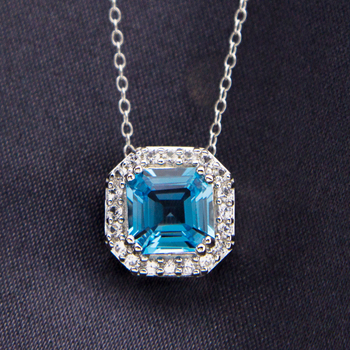Sterling Silver Blue & White CZ Pendant with Chain
