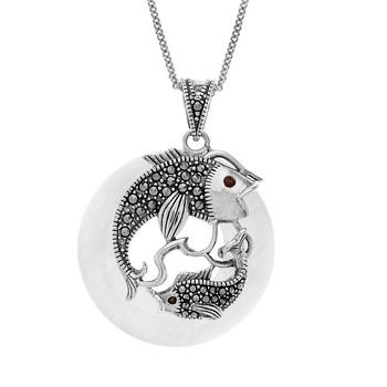 Sterling Silver Cat's Eye & Marcasite Fish Pendant