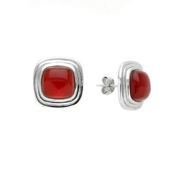 Sterling Silver Cushion Carnelian Stud Earrings