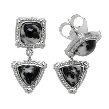 Sterling Silver Cushion & Trillion Shaped Drop Earrings