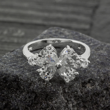 Sterling Silver CZ Cluster Flower Ring Size 7