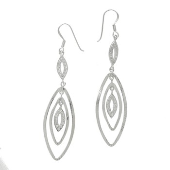 Sterling Silver CZ Polished Textured Drop Wire Earring