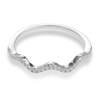 Sterling Silver Cz Wave Ring Size 8